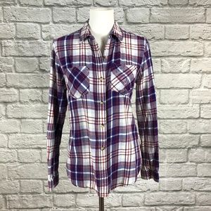 Authentic American Blue/Red Flannel Button Down